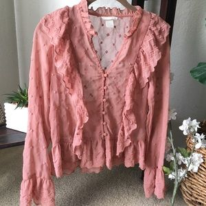 🍃🌸{H&M}: Pink Sheer Embroidered Blouse🌸🍃